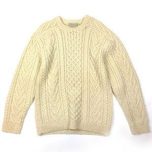 Vtg fisherman Irish sweater wool knit chunky